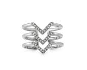 Pave Chevron Ring Silver M/L