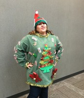 Alejandra owning Elgin's most festive sweater
