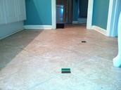 Porcelain and glass tiled floor