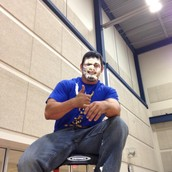 Coach Bookout earned the pie in the face!