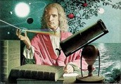 Newton by his reflective telescope and prism.