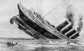 1915- (May 7th) U-Boat sank the British passenger ship the Lusitania