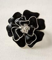 Black Enamel Flower Brooch