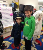 Andrew and His Little Brother, Timmy, during the Kindergarten Halloween Parade