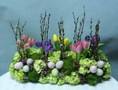 Tulip arrangement with eggs and moss
