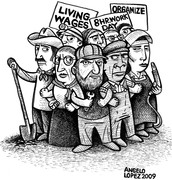 A cartoon picture drawn about the Labor Union