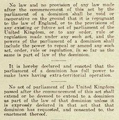 A Canadian Report on the Statute of Westminster