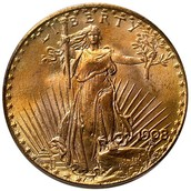 $20 Saint-Gaudens Gold Double Eagle Coin – MS-65 Graded