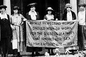 Susan B. Anthony marching with fellow feminists for women's rights
