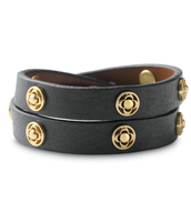 Clover Double Wrap Bracelet - brown