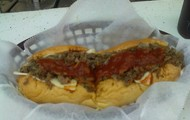 philly steak sub with cheese and maranaria sauce