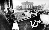 Soviets raise flag after battle