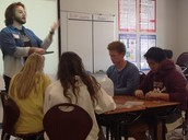 Guest graphic designer explaining how math applies to his career in Lee's Geometry class.