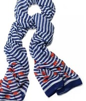 Palm Springs Scarf, Navy/White stripe elephant