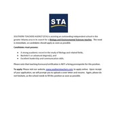 Biology and Environmental Sciences Teaching Positions