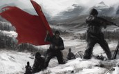 red army carrying flag up the hill