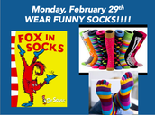 Lunes, 29 de febrero, ¡Lleve calcetines divertidos!