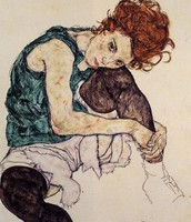 Egon Schiele - Seated Woman w/ Bent Knee