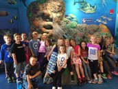 Mrs. Fisher's first grade class stops for a quick picture at the Sea Life aquarium.