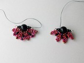 Earrings design experiments with Rizo beads (©2014 Debra Schwartz) - added to the list of patterns I want to write