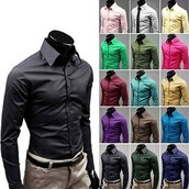 Men's Long Sleeve Shirts Candy Color Plus Size M-XXXL