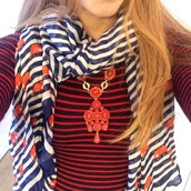 Sardinia Pendant ($98), Navy stripe elephant scarf ($59)