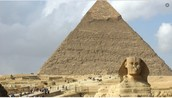 Sphinx and a ancient pyramid