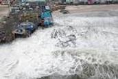 Flooding along a beach after Sandy