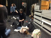 Student-led lesson in Koske's theater class.