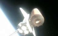 Discovery in space, just after booster seperation