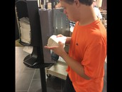 Refilling our napkin dispensers