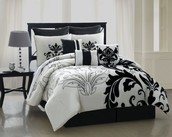 Damask Sheet Set, Queen, Black