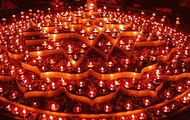 A Design Created by Arranging the Diwali Lights