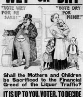 A political cartoon asking if women and their children should have to put up with their husbands spending all their money on alcohol
