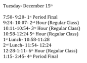 Tuesday's Final Schedule