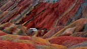 A continuous road that circulates Zhangye Danxia Landform