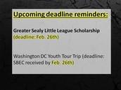 February 26th Deadlines