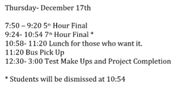 Thursday's Final Schedule