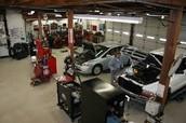 Inside of a mechanic shop