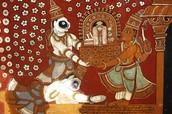 אינדרה מעניק את גובינדה ראג'ה למוצ'וקונדה, ציור תקרה
