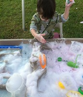 Rowen excited about the bubbles