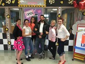 The staff dressed up in 50's gear!
