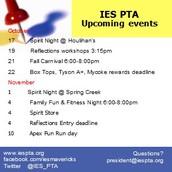 IES PTA Upcoming Events