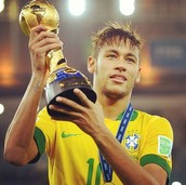 Here's Neymar lifting the world cup trophy