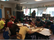 Students on a roll as they come up with writing ideas