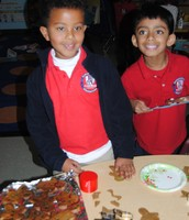 Ayush and Lee pose with their baking!