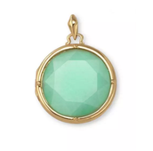"Sentiment Stone Locket - Green (w/ 30"" open link gold chain)"