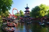 Tivoli's Dragon Boat Lake and Daemonen Roller Coaster