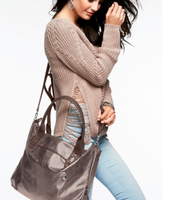 $49 My Favorite: Pewter Metallic with Fuscia Interior Bag