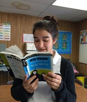 Kacie reading Lady Macbeth's part in Macbeth.